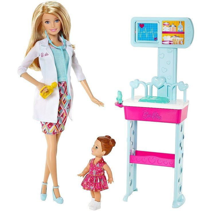 Barbie - Barbie Pediatra, un conjunto de la serie Barbie Quiero Ser que incluye 1 muñeca Barbie Pediatra, 1 muñeca de una paciente y todo lo necesario para recrear la consulta de un pediatra. En esta ocasión, Barbie es una doctora especializada en pediatría. Ayúdala a cuidar y a curar a los niños enfermos.