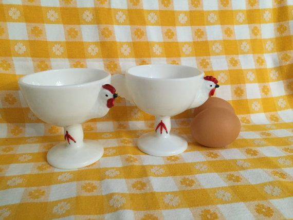 Pair Vintage Westmoreland Chicken Custard Egg Cups by AStringorTwo