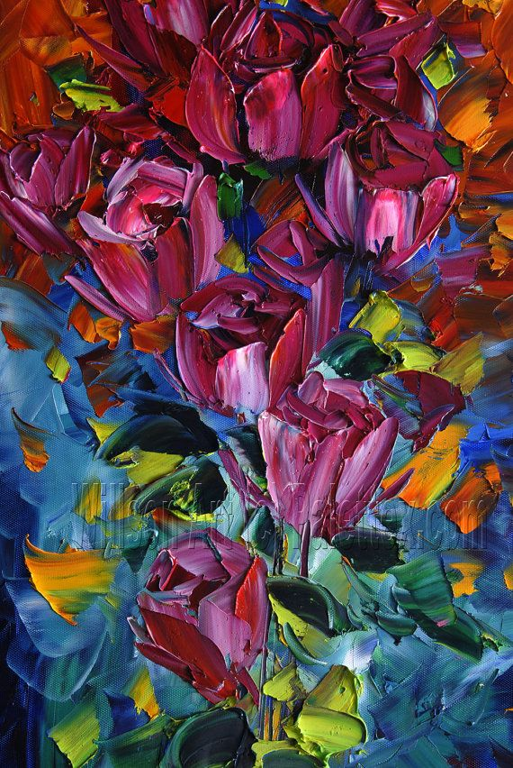 Textured Palette Knife Rose Oil Painting