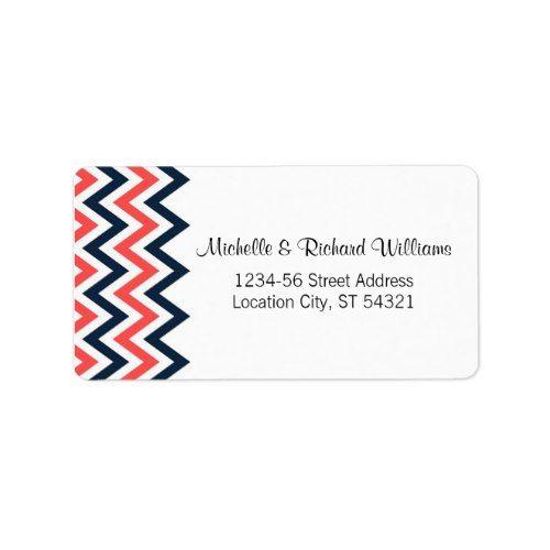 Modern Navy & Coral Chevron & Lovebirds Wedding Label