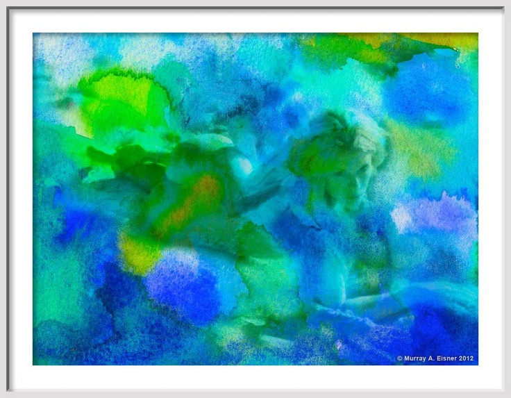 NUDE in Blue Turquoise and Green Watercolor Painting by EisnerArt