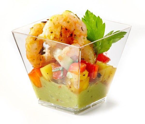 Verrine de crevettes, salsa de mangues et guacamol | Première Moisson