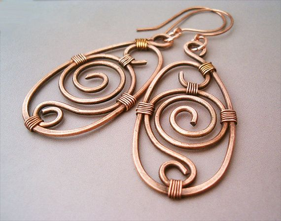 Wire Wrapped Earrings oldlooking Copper   Handmade by GearsFactory, €13.00