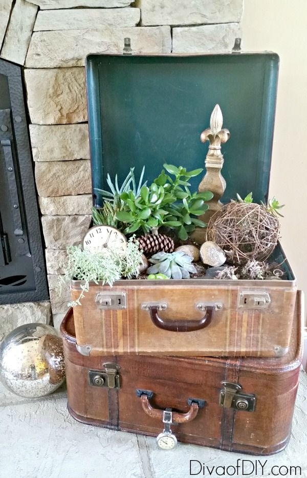 Try these unique outdoor flower planter ideas from repurposed items Great flower ideas for a flower garden in front of the house or indoor succulent garden!