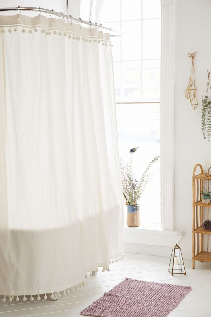 White Pompom Shower Curtain - Urban Outfitters
