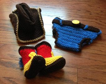 Crochet cowboy outfit cowprint vest cowboy by CrochetbyDestinee