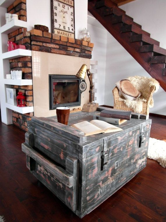 Vintage Antique Old  Military  Army Chest Trunk Box green  white loft industrial end table coffee table  steel and wood