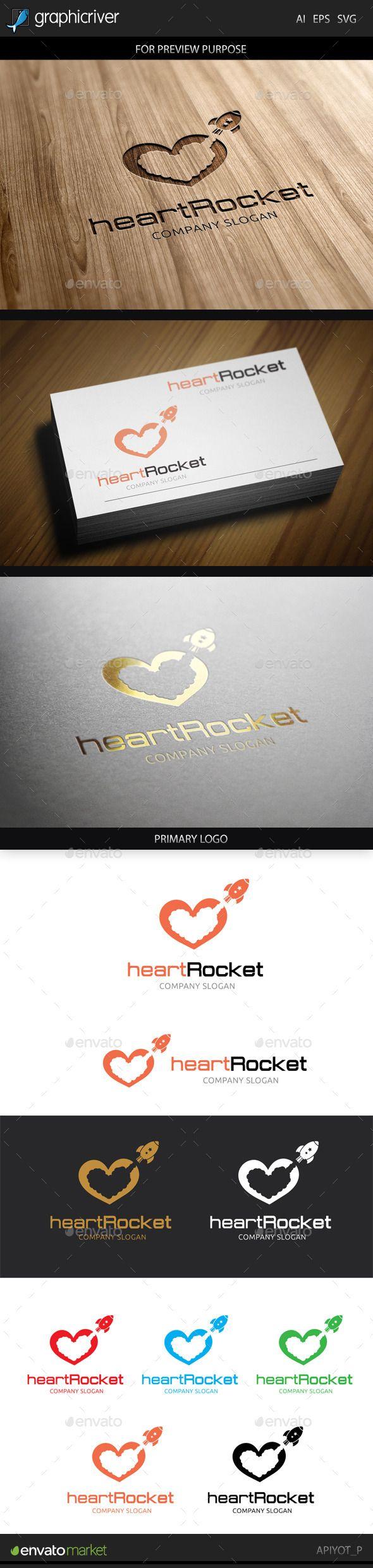 Heart Rocket Logo — Vector EPS #unlimited #multimedia • Available here → https://graphicriver.net/item/heart-rocket-logo/8881704?ref=pxcr