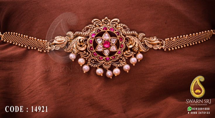 Antique armlet or bajuband, Floral peacock bajuband designs, Swarnsri Gold & Diamonds, Vijayawada. #PeacockGoldJewellery