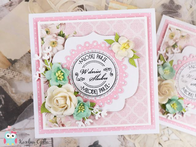 Wedding card with paper flowers, spellbinders die and Studio75pl papers. handmade cards, cardmaking, kartka, scrapbooking