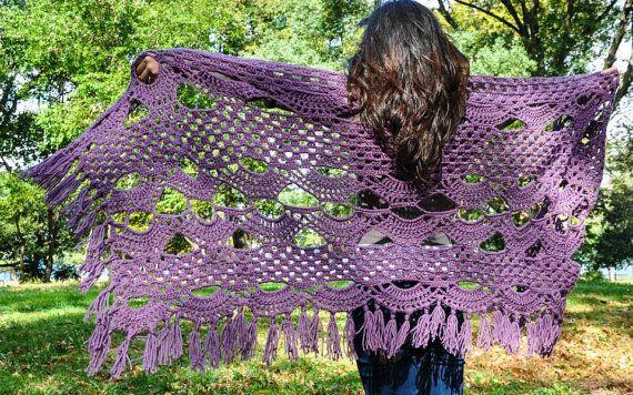 Crochet Shawl Dusty Purple Shawl Purple by courtneyannabanana, $60.00
