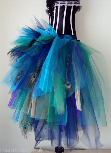 Peacock-Feather-Burlesque-Bustle-Belt-Tutu-Skirt-XS-S-M-L-XL-Sexy-Halloween