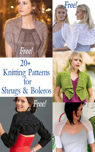 Knitting Patterns for Shrugs and Boleros, many free knitting patterns at http://intheloopknitting.com/free-shrug-bolero-knitting-patterns/