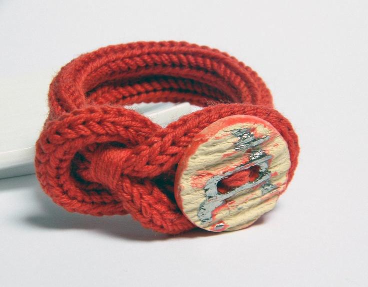 Red wool yarn bracelet. Ceramic button. Yarn jewelry