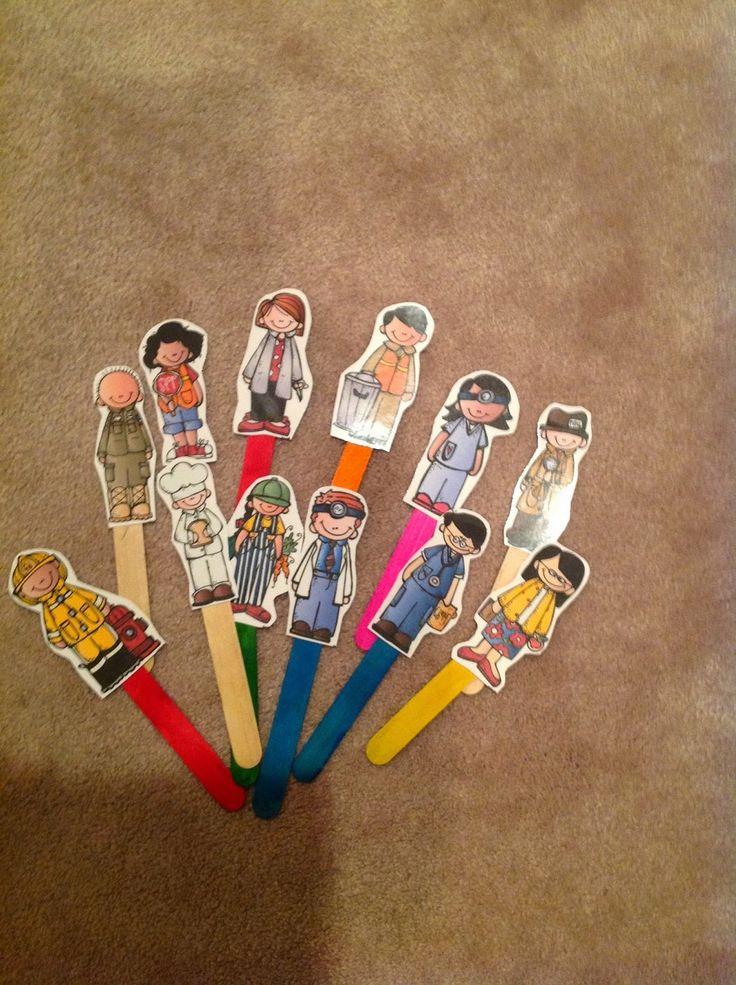 Preschool Printables: Free Community Helpers Sentences--also has stick puppets