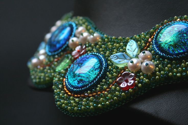 Evergreen - Bead Embroidered Neckpiece - pinned by pin4etsy.com