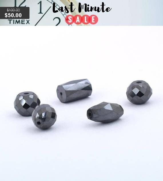 Certified Drum Checker Cut Black Diamond Drilled Loose Beads for Making Jewelry 19.00 Cts Sale 4 pc