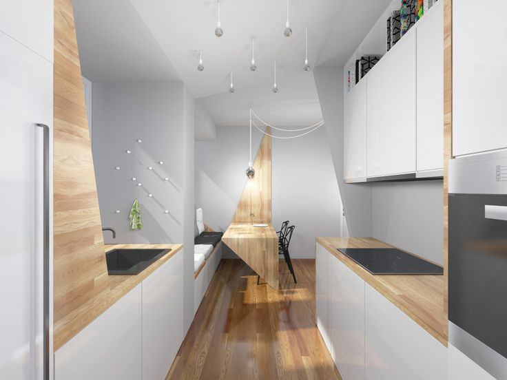 Small kitchen with dining room.