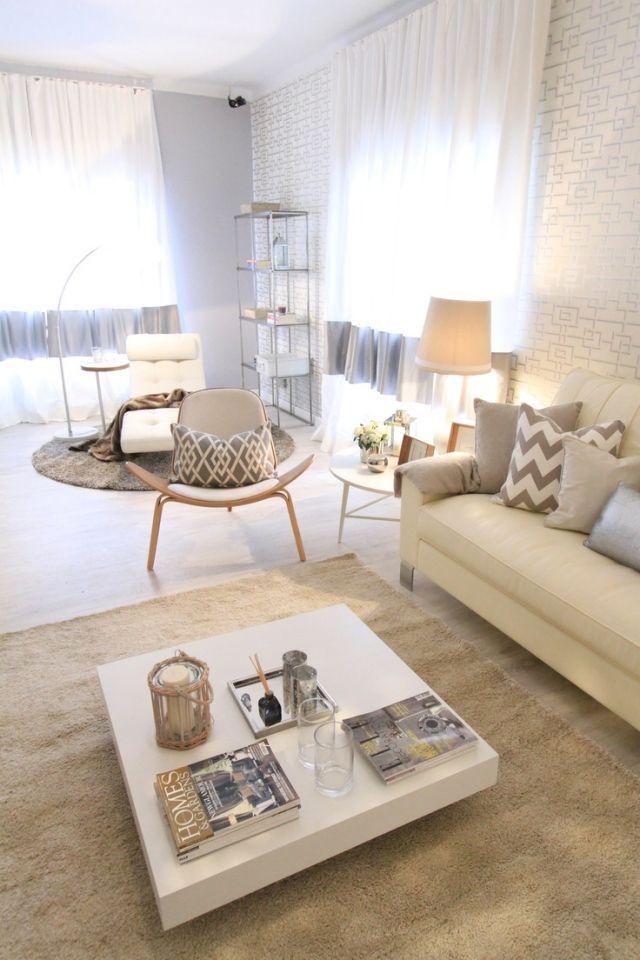 wohnzimmer gestalten sandtoene beige weiss