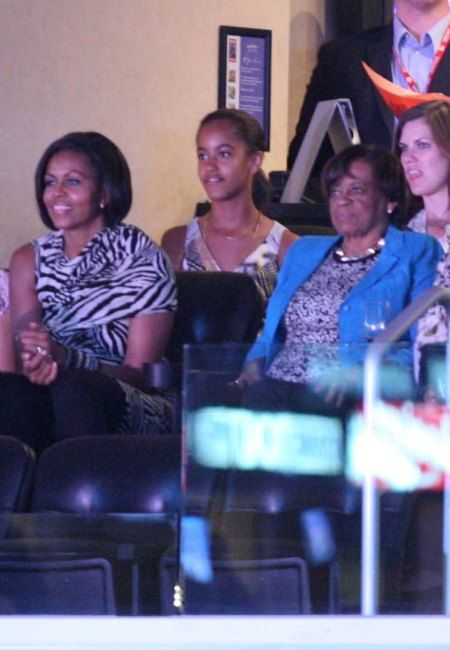 Michelle Obama at the Lakers game
