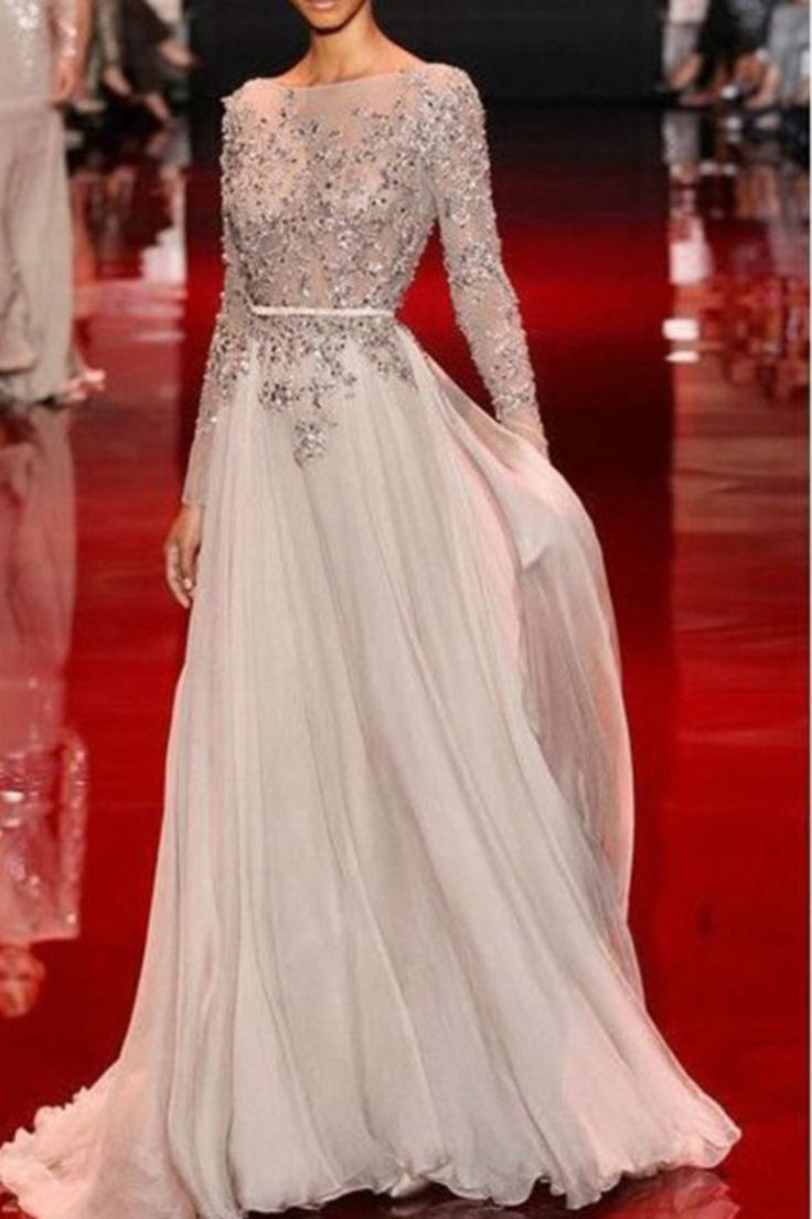 2015 A Line Chiffon Prom Dresses Bateau Full Sleeves With Beads And Applique USD 189.99 EPPZRR6SSC - ElleProm.com
