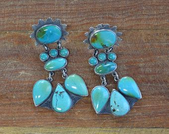 Vintage Sterling Silver And Turquoise Statement Earrings By Federico Jimenez