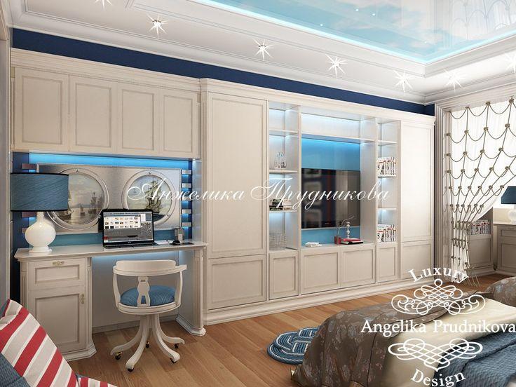 Дизайн интерьера детской комнаты мальчиков в морской тематике - фото