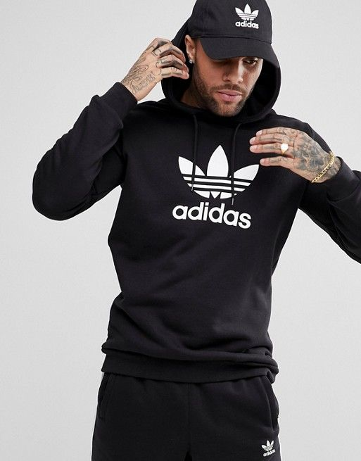 sale retailer f7ee7 6244f adidas Originals adicolor pullover hoodie with Trefoil logo in black CW1240  in 2019   Wishlist   Pinterest