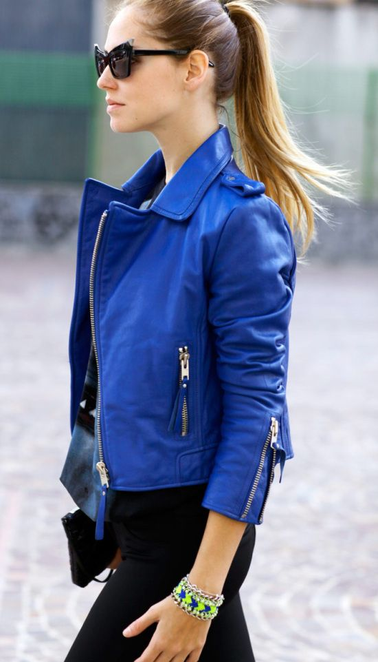 Leather jackets are one nod to grunge this season. This one in, on-trend, cobalt blue ticks a few boxes. | Life in CMYK
