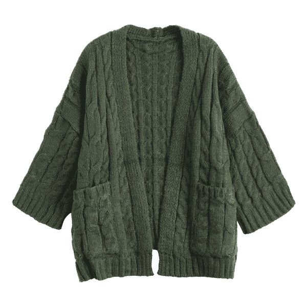 Front Pocket Cable Knitted Cardigan Army Green (€30) ❤ liked on Polyvore featuring tops, cardigans, olive cardigan, army green top, cardigan top, cable cardigan and chunky cable knit cardigans