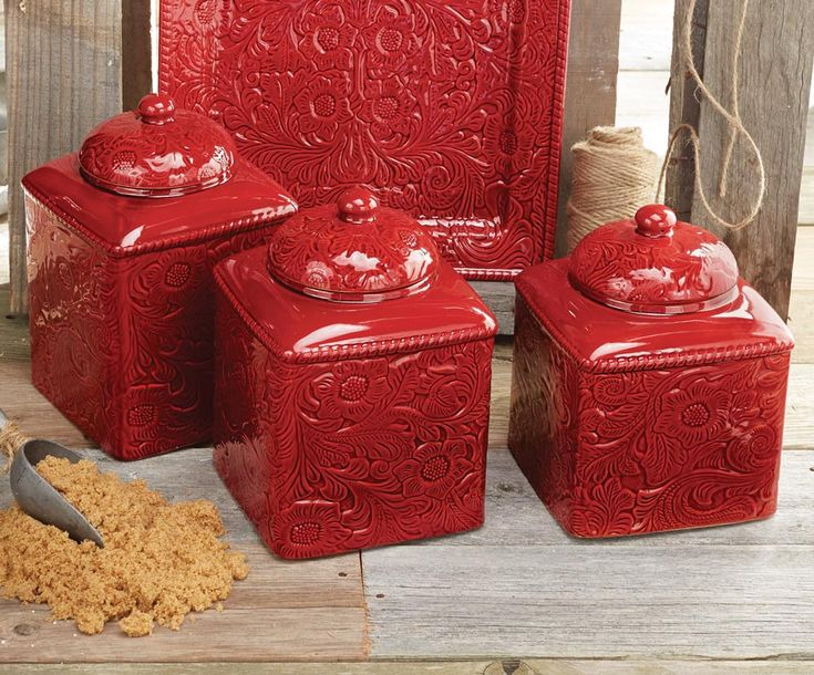 Perfect A Tooled Leather Look Floral Design Embellishes The Textured Stoneware  Savannah Red Canister Set To Create An Elegant Western Kitchen Setting.
