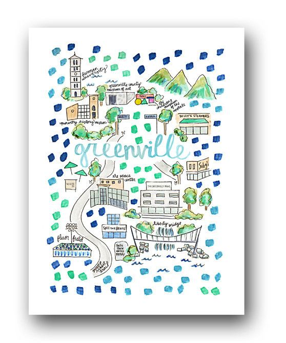 Greenville Map Print by Evelyn Henson