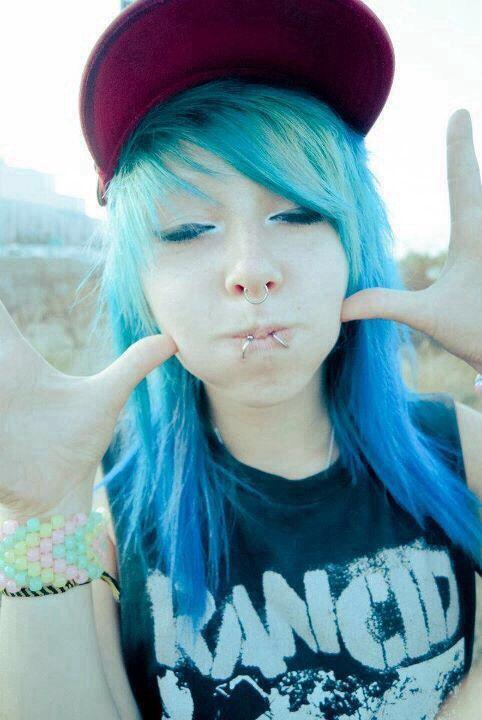 Cute scene girl with blue hair