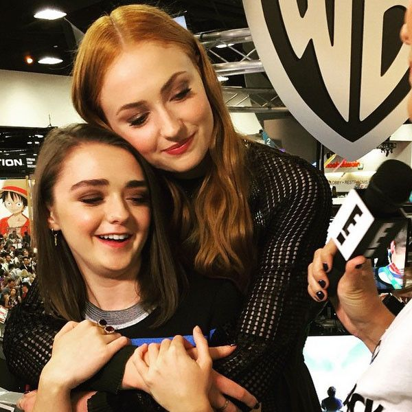 Arya & Sansa Reunited from E! Takes On Comic-Con 2015 Game of Thrones' Maisie Williams and Sophie Turner from Game of Thrones talk to E! News' Kristin Dos Santos.