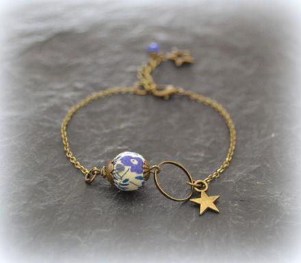"""Bracelet Liberty """"Fairford"""" bleu et gris  : Bracelet par lounath-fantaisie-et-liberty"""