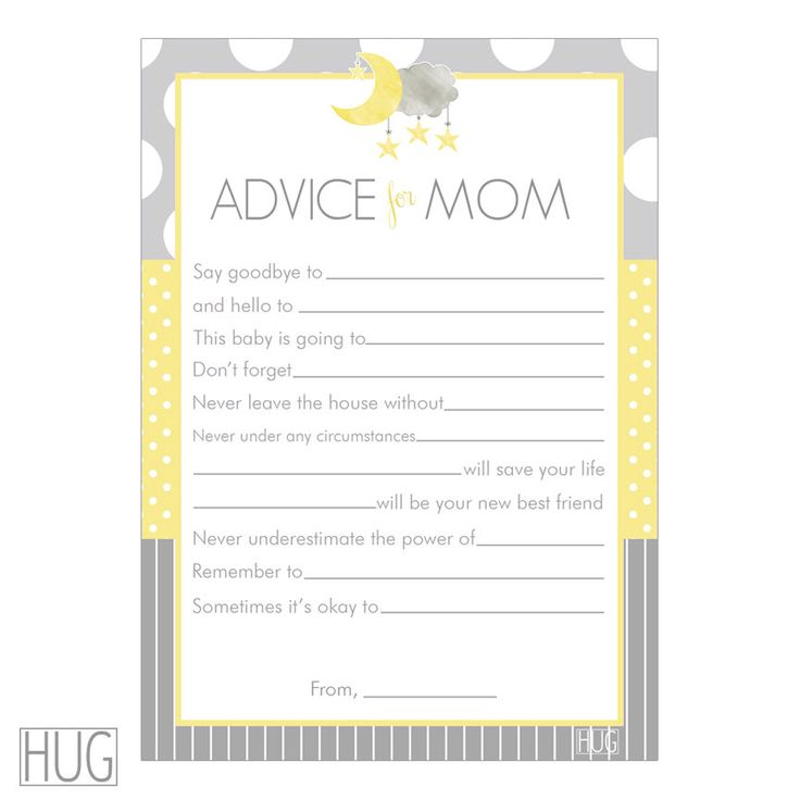 Baby Shower Tips For New Moms: Digital Printable Advice For Mom Cards Moon And Stars