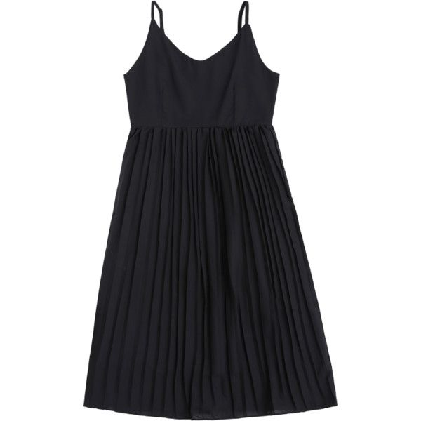 Chiffon Pleated Beach Slip Dress Black (250.190 IDR) ❤ liked on Polyvore featuring dresses, chiffon slip dress, beachy dresses, beach style dresses, beach dresses and chiffon dress