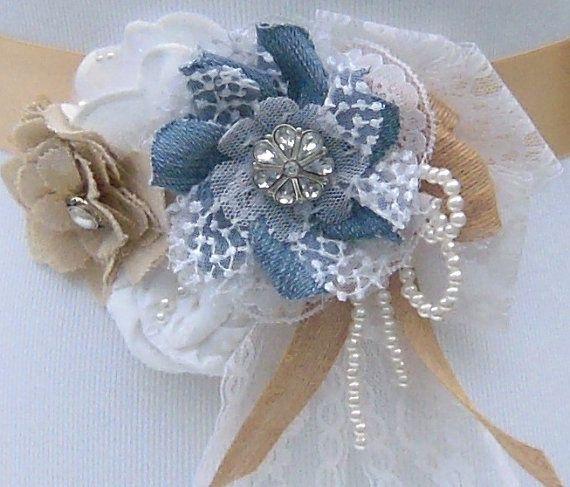 Denim Wedding Dress Sash Belt White Muslin and by SorellaSashes