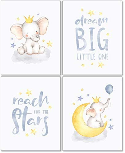 Confetti Fox Elephant Dream Big Baby Nursery Wall Art Decor – 8×10 Unframed Set of 4 Prints – Gender Neutral Boy Girl Lullaby Twinkle Star Moon Quotes