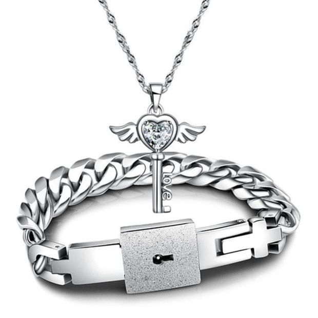 e71791a688 2014 New Fashion Couples Jewelry sets Silver His and Hers White Cubic  Zirconia Key Pendant Necklace And Titanium Steel Lock Link Chain …