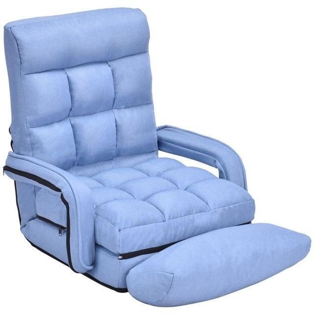 Superb Folding Lazy Sofa Linen Modern Floor Chair Sofa Lounger Bed Machost Co Dining Chair Design Ideas Machostcouk