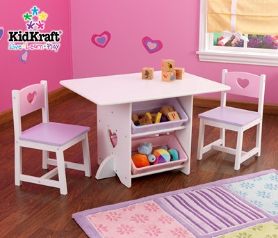 Heart Table with Storage and 2 Chair Set for 3-8 yr olds
