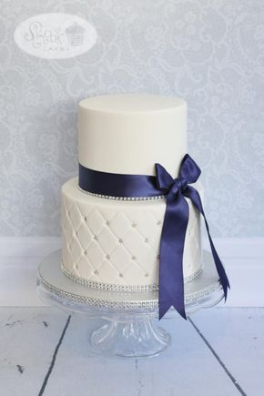 White & Navy Blue Wedding Cake! by Leila Shook - Shook Up Cakes - http://cakesdecor.com/cakes/272574-white-navy-blue-wedding-cake