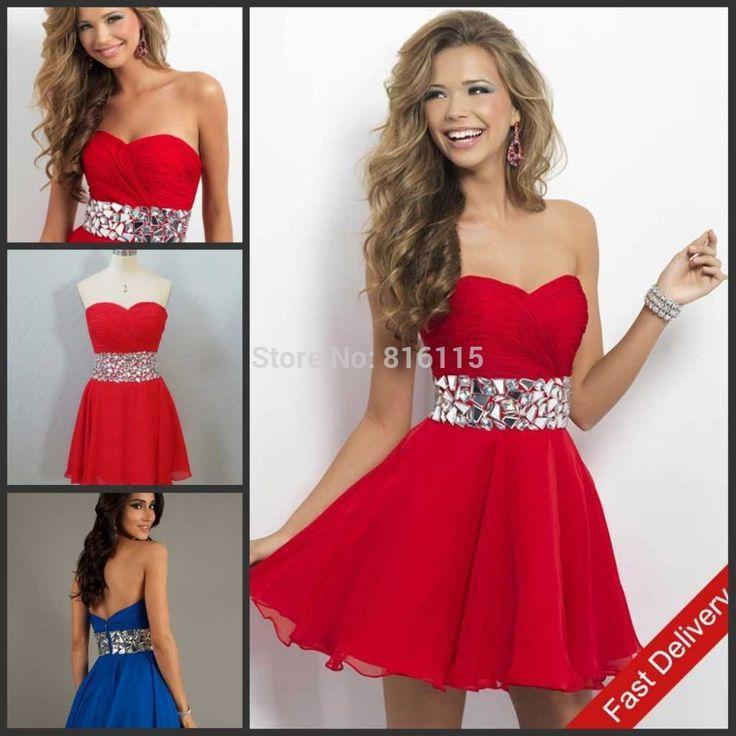 L'arrivée de nouveaux 2014 adolescent amoureux rouge et bleu royal rhinstone ceinture, en mousseline de soie robe de bal courte robe homecoming t17