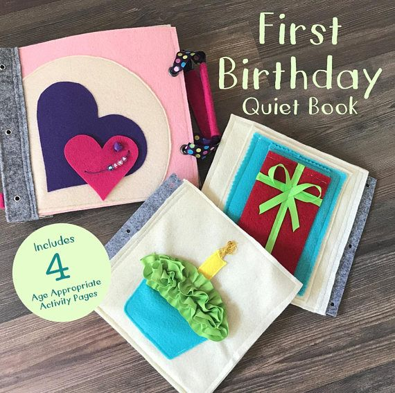 First Birthday Quiet Book For 1 Year Old Girls Soft Felt