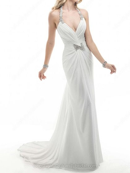 Sheath/Column Halter Chiffon Sweep Train Appliques Wedding Dresses -USD$308.39
