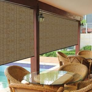 Coolaroo Walnut Cordless Exterior Roller Shade   72 In. W X 96 In. L