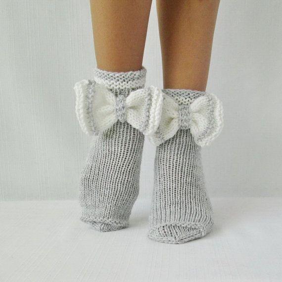Socks butterfly. Gray socks. Woman socks. Knit by mymomsshop1