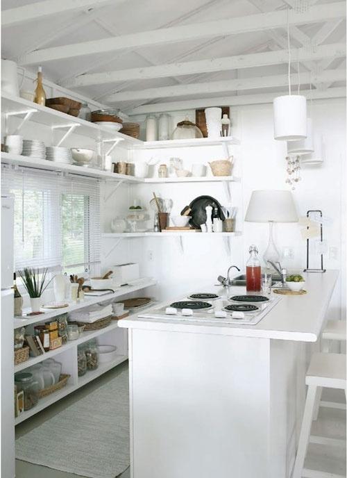 Kitchen: Cottages Houses, Kitchens Shelves, Cottages Kitchens, Idea, Open Shelves, Small Places, Small Kitchens, Open Kitchens, White Kitchens