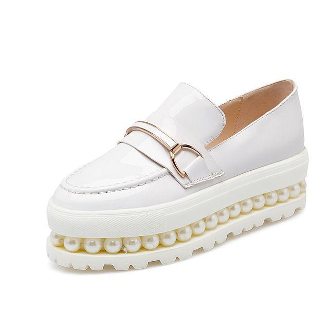 2017 Новое прибытие мода осень тапки увеличение платформа круглый носок из натуральной кожи элегантные мокасины перл повседневная женская обувь